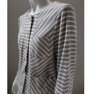 Anthro Isani Taupe Striped Cardigan Jacket SZ XS